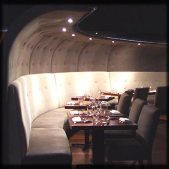 Restaurant Wall & Curved Banquettes; New York City, NY